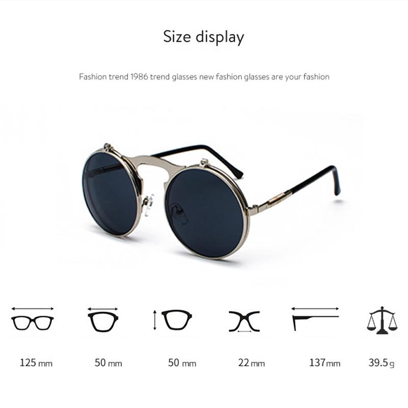 c2849118453 Description  Brand Unbrand. Name Round Steampunk Flip Up Sunglasses.  Condition New